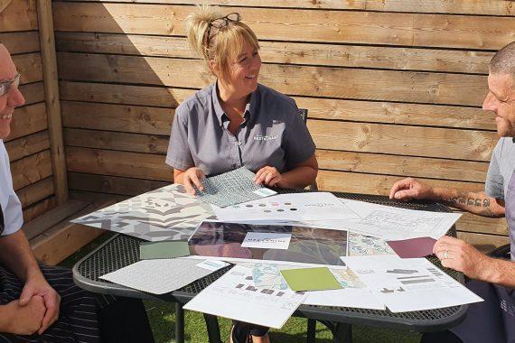 Tong Garden Centre staff review plans for the Mezzanine restaurant